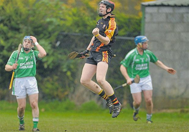 David Dempsey celebrates after scoring the second goal for Ardscoil Rís against St Colman's yesterday
