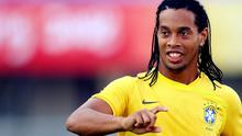 Ronaldinho of Brazil trains at a football field in Shenyang, one of the Olympic football venues in northeast China's Liaoning province, on August 3, 2008 in Shenyang, China. The Brazil team arrived in Shenyang on August 2. Photo: ChinaFotoPress, Getty Images.