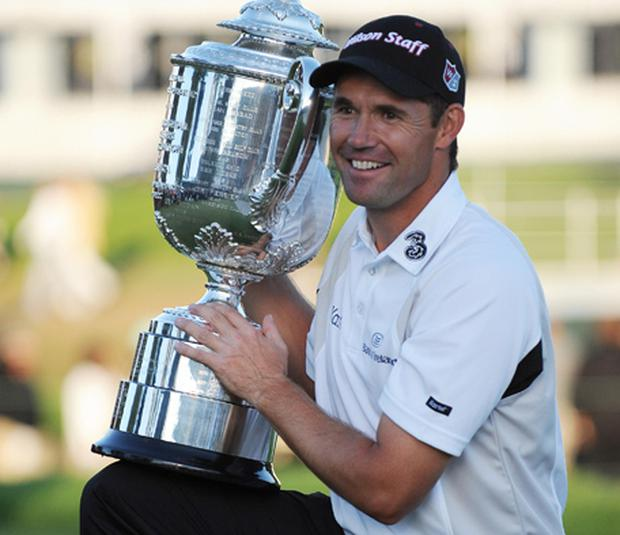 Padraig Harrington holds the trophy after winning the 90th PGA Championship at Oakland Hills Country Club on August 10, 2008 in Bloomfield Township, Michigan. Photo: Tim Sloan, Getty Images