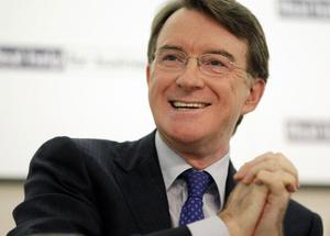 UK Business Secretary Peter Mandelson at a press conference in London today. SHAUN CURRY/AFP/Getty Images