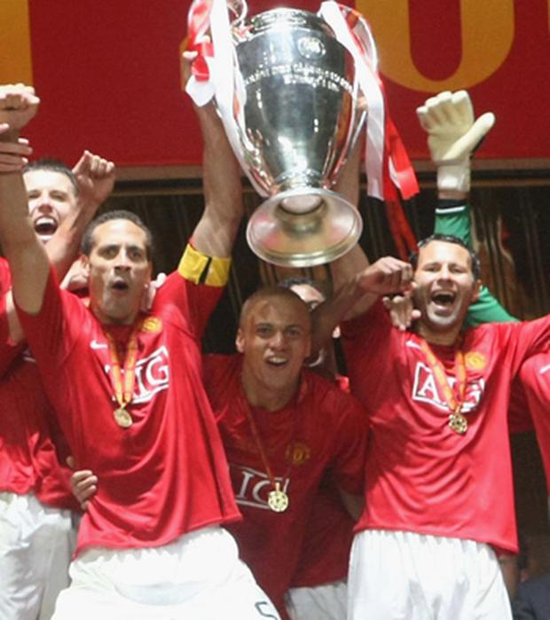 Rio Ferdinand, Wes Brown, Ryan Giggs and Mikael Silvestre of Manchester United celebrate after winning the UEFA Champions League Final match between Manchester United and Chelsea at Luzhniki Stadium on May 21 2008 in Moscow, Russia. Credit: John Peters, Getty Images