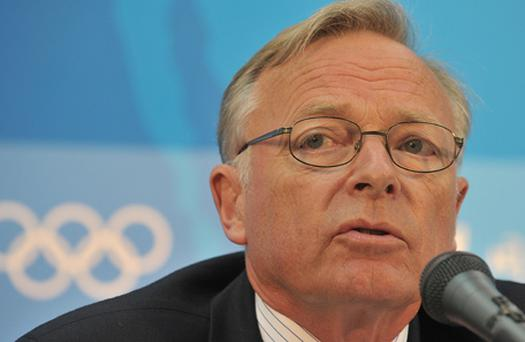 Vice-President of the International Equestrian Federation (FEI) Sven Holmberg gives a press conference after four horses were been banned Photo: Mike Clarke/Getty Images