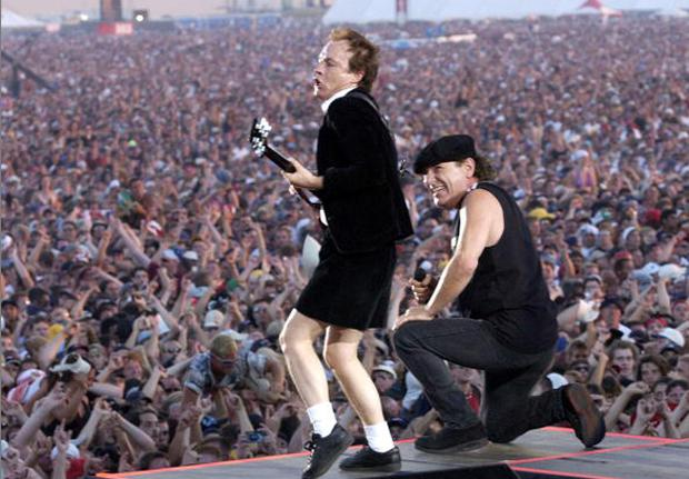 Record labels are stopping iTunes selling the albums of artists such as AC/DC in an attempt to boost sales. Photo: Kevin Mazur/WireImage