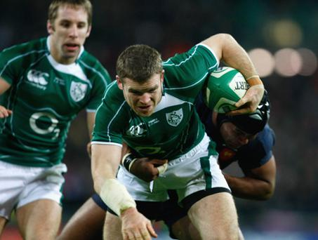 Gordon D'Arcy of Ireland goes over to score a try during the RBS 6 Nations Championship match between Ireland and France at Croke Park on February 7, 2009 in Dublin, Ireland. Photo: Stu Forster, Getty Images