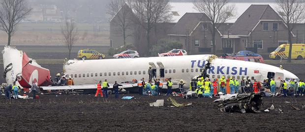 The Boeing 737 split into three parts as it crash landed in a field near runway 1 of Schiphol Airport. Photo: Paul Vreeker, Getty Images