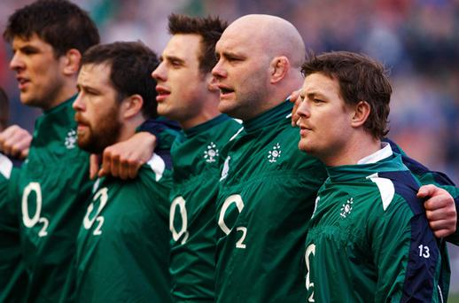 Brian O'Driscoll (R) of Ireland leads his team out during the RBS Six Nations Championship match against Scotland. Photo: Stu Forster, Getty Images