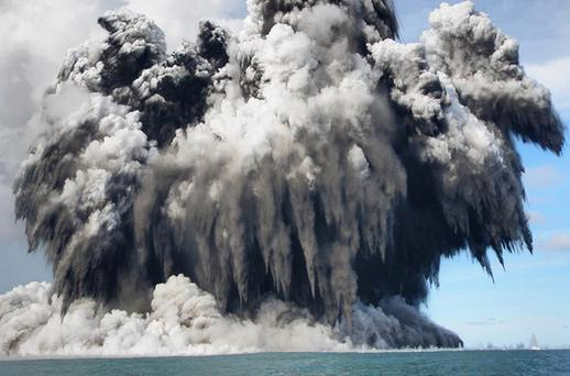 An undersea volcano is seen erupting off the coast of Tonga, sending plumes of steam, ash and smoke up to 100 metres into the air. The volcano, which is situated approximately 6 miles off of the main Tongan island of Tongatapu, is one of around 36 undersea volcanos clustered in the area. There is currently no danger to residents of the island as the gases are blown offshore, residents noted the eruptions began after a series of sharp earthquakes were felt in the capital. Photo: Dana Stephenson, Getty Images