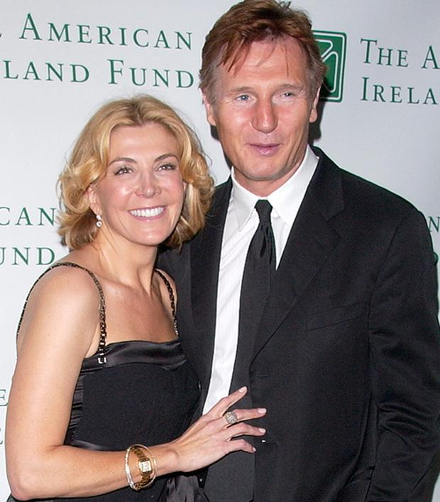 Natasha Richardson and Liam Neeson attend a fundraiser for the American Ireland Fund in New York in May 2008