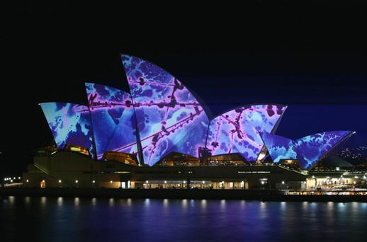 A light art work by artist and musician Brian Eno is projected onto the Sydney Opera House during the opening night of the Smart Light Sydney Festival. The Smart Light Sydney Festival is a Vivid Sydney initiative that aims to bring colour and light to Sydney during Winter. Photo: Sergio Dionisio, Getty Images