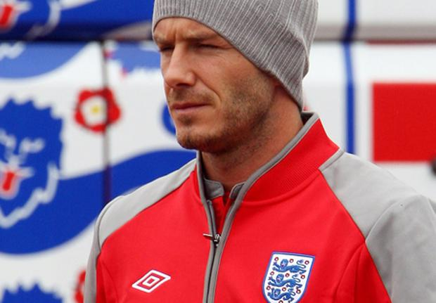 David Beckham of England walks out for an England training session on June 9, 2009 in London Colney, England. Photo: Phil Cole, Getty Images