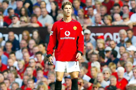 Christiano Ronaldo makes his debut in front of the home fans during the game against Bolton Wanderers at Old Trafford in Manchester 16 August 2003. Manchester United won the game 4-0. Photo: AFP, Getty Images
