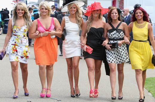 Girls pose for a photograph on the second day of Royal Ascot. Photo: Chris Jackson, Getty Images