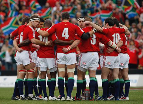 The Lions players huddle before the Third Test match between South Africa and The British and Irish Lions at Ellis Park. Photo: Stu Forster, Getty Images