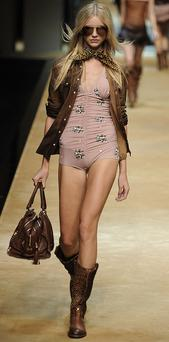 Underwear as outerwear is a key trend next Spring as seen on models at the Dolce & Gabanna Spring/Summer 2009 collection. Photo: Getty Images