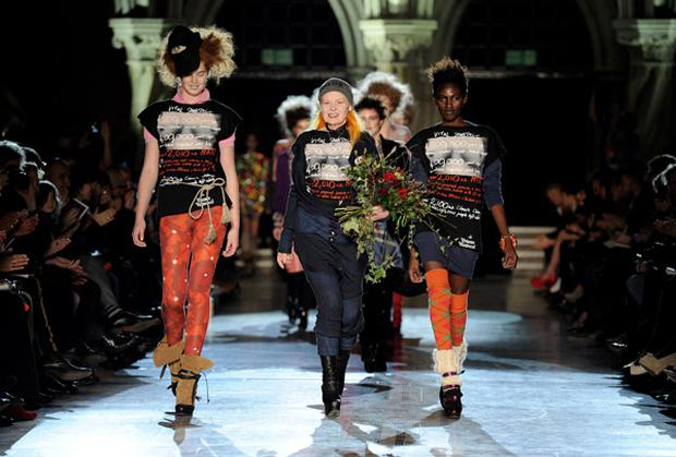 Vivienne Westwood, (centre) walks down the catwalk after her Red Label fashion show during London Fashion Week. Photo: Getty Images