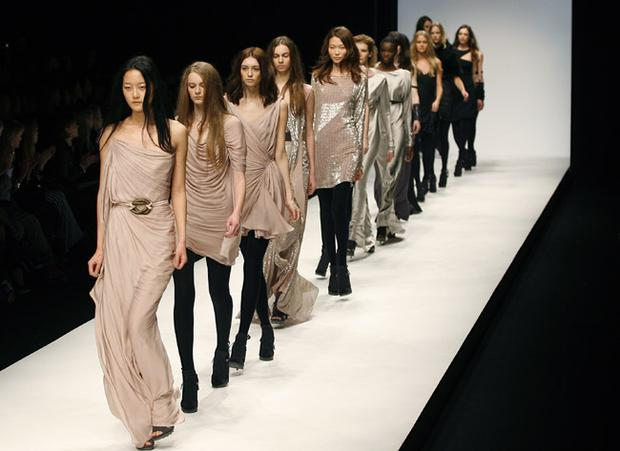Feminine neutral colours featured strongly at the Amanda Wakeley catwalk show during London Fashion Week. Photo: Getty Images