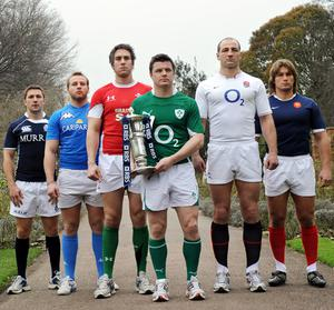 (L-R) Scotland Captain Chris Cusiter, Italy Captain Leonardo Ghiraldini, Wales Captain Ryan Jones, Ireland Captain Brian O'Driscoll, England Captain Steve Borthwick and Dimitri Szarzewski of France pose with the RBS 6 Nations trophy at the tournament's launch event in London. Photo: Getty Images