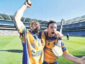 Portumna players Andrew Smith, left, and Leo Smith show their emotion after their team's victory over Birr in the final of the All-Ireland Club SHC at Croke Park