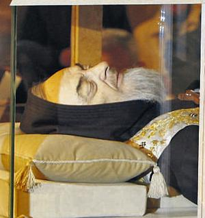 This is the extraordinary sight of Padre Pio on public display, 40 years after his death