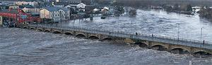 The River Avoca burst its banks in Arklow, Co Wicklow