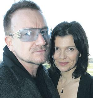 Bono and his wife, Ali Hewson, in the pavillion at the Christmas festival at Leopardstown Racecourse yesterday