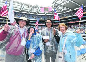 Fred and Sheila Clause, Gladys Valerie and Barbara Ginn from Atlanta, Georgia at Statio Orbis, the closing ceremony of the 50th International Eucharistic congress at Croke Park