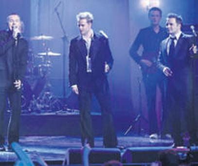 Ronan Keating joined Westlife on stage