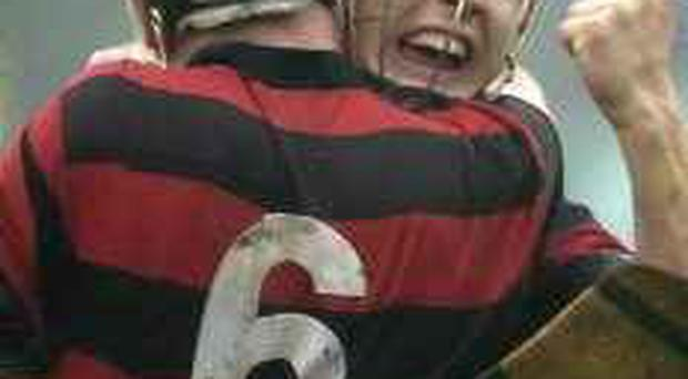 Ecstasy . . . Ballygunner's Fergal Hartley (6) and Shane O'Sullivan celebrate yesterday's win over De La Salle