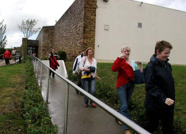 Uncertain future: women leaving the Hospira plant in Donegal this week at the end of a shift.