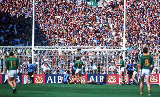 Dublin's failure to kill off Meath in 1991 came back to haunt them in the third replay at Croke Park (above).