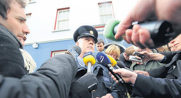 MEDIA GLARE: Supt Kevin Donohoe briefs journalists in Listowel before yesterday's arrest