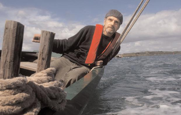 Force of nature: Jeremy Irons sailing on a Heir Island lobster boat on Baltimore Harbour, West Cork