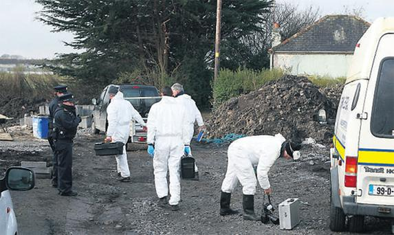 Gardai yesterday examine the scene where the murdered body of James Cronin was discovered
