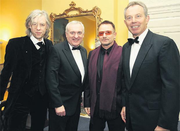 Bob Geldof, Bertie Ahern, Bono and Tony Blair prior to last night's gala dinner organised by the charity Turn the Tide of Suicide to mark the 10th anniversary of the Good Friday Agreement