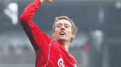 Peter Crouch celebrates after scoring for Liverpool
