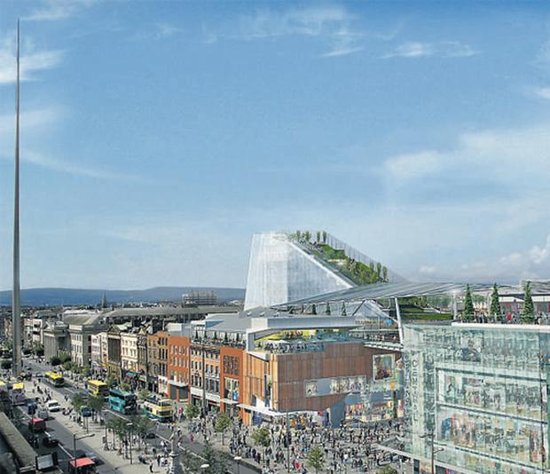 The proposed Dublin Central development, as viewed from O'Connell Street will encompass shops, apartments, restaurants and an art gallery. The centrepiece of the plan is a 50-metre-high roof garden called the 'Park in the Sky' which will offer panoramic views over the city