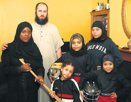 Liam Majaahid Egan with his wife, Beverley McKenzie-Egan Su'ad and their children, camogie players, Shekina (14), Shakura (12), Shakiirah (8) and four-year-old Shadia