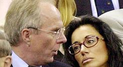 SOCIAL Sven...Library file photo, dated 08/02/2002, of England coach Sven Goran Eriksson with his former partner Nancy Dell'Olio (right). According to the daily Mirror the England supremo has formed a friendship with television presenter Ulrika Jonsson. Ms Jonsson's agent Melanie Cantor said neither she nor Ulrika would comment and Paul Newman, head of Communications for the Football Association, would say only: