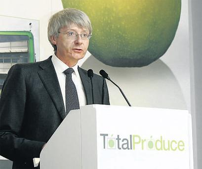 Carl McCann, chairman, Total Produce, addressing the group's agm in Dublin yesterday
