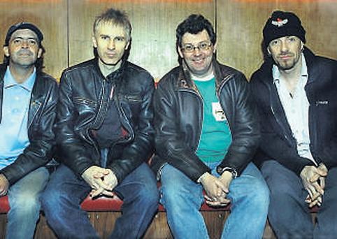 FRIENDS REUNITED: Burns (third from left) with Stiff Little Fingers – they have a different perspective these days