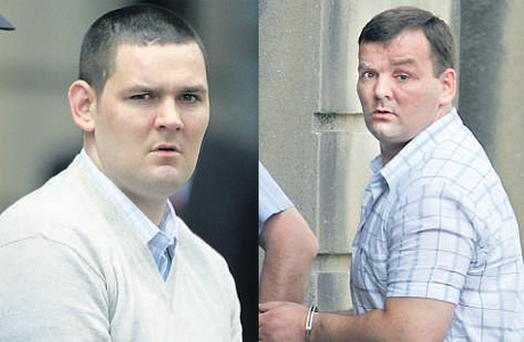 Warren (right) and Jeffrey Dumbrell were found guilty of murdering Mr Cawley and jailed for life