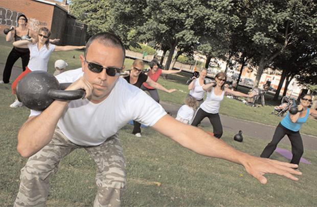 Cannonball: Shane Nicoletti leads a group of women in kettlebell training in Crumlin