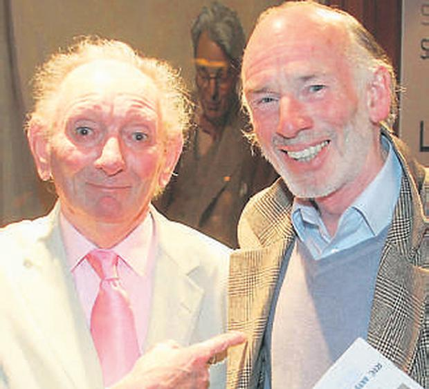 Playwright Brian Friel (left) and actor John Kavanagh at the Abbey for the opening of 'Three Sisters'