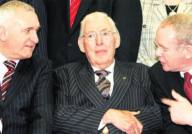 They said it couldn't be done. 'Did I not say on countless occasions that the DUP would never go into power with SF?' Pictured are Bertie Ahern, Ian Paisley and Martin McGuinness in Belfast