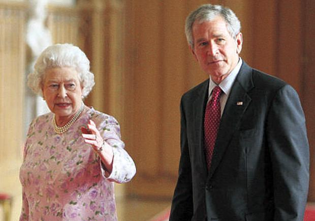Britain's Queen Elizabeth and US president George W Bush have been in a few protocol mix-ups in their time