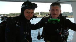 Eoin (right) with dive guide Alex Diamond