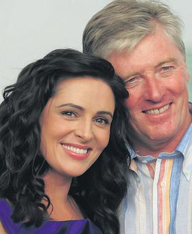 Pat Kenny and Grainne Seoige enjoying the first evening of the Galway races yesterday