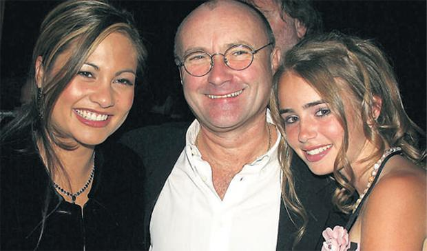 Phil Collins with his former wife Orianne and his daughter Lily