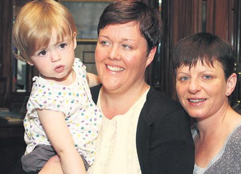 Fiona Clarke and her partner Sheila King with their baby Keelin, aged 18 months