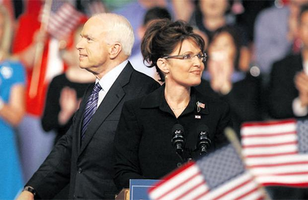 Republican presidential candidate John McCain and Sarah Palin acknowledge supporters after McCain introduced Palin as his vice presidential running mate